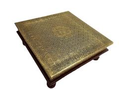 Purpledip Wooden Chowki Low Table Stool With Brass Sheet Cover 10 inch; Vintage Antique Design Furniture; Housewarming Gift (10757)