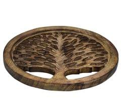 Purpledip Wooden Trivet 'Tree Of Life' Coaster Hot Pad Mat For Dining Table, Kitchen  (10784)