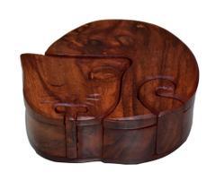 Purpledip Magic Wooden Puzzle Box 'Sleepy Cat': Handmade Mystery Keepsake Box Game Gift (10786)