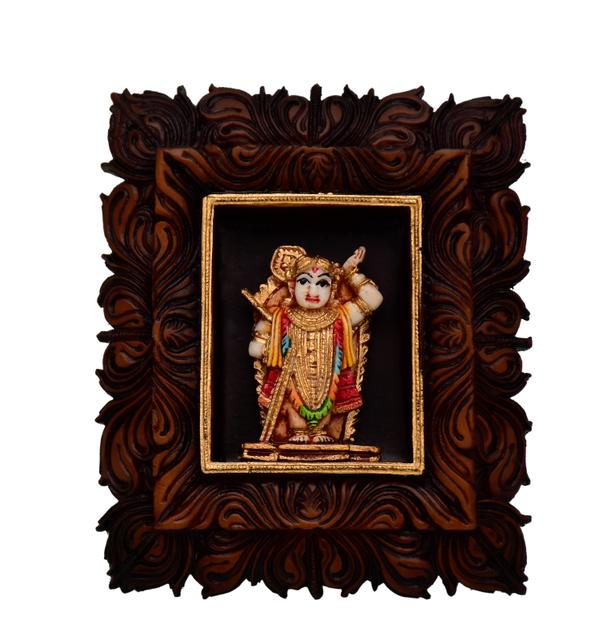 Purpledip Shrinathji: Sculpted in Poly Resin for Home Temple, Office Table, Car Dashboard or Shop Puja Shelf (10798)