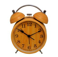 Purpledip Table Alarm Clock with Ringing Bell and Back Light: Fibre Made, Wood Feel (10900)
