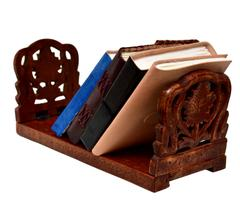 Purpledip Wooden Shelf 'Tropical Rainforest': Portable Rack For Books, Magazines Or CDs In Intricate Floral Design (10792)