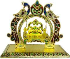 Beautiful Janamashtmi Special Meenakari Laddoo Gopal Krishna Jhula Swing Singhasana (10911)
