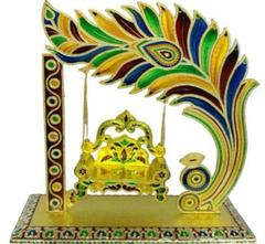 Beautiful Janamashtmi Special Meenakari Laddoo Gopal Krishna Jhula Swing Singhasana (10910)