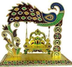 Beautiful Janamashtmi Special Meenakari Laddoo Gopal Krishna Jhula Swing Singhasana (10907)