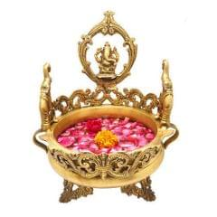 Purpledip Pure Brass Ganesha Urli, Flower Vase, Thali for Floor, Unique Indian decor 10943