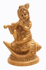 Purpledip Brass Krishna Statue: Bala Gopal Avatar Seated On Holy Conch Panchajanya Shankh (10920)