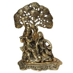 Purpledip Janamashtmi Special Radha Krishna Statue Under Tree in White Metal with golden polish, Unique D�cor Indian Gift (10924)