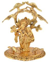 Purpledip Janamashtmi Special Radha Krishna Statue Under Tree in White Metal with golden polish, Unique D�cor Indian Gift (10926)