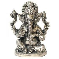 Purpledip White Metal Statue: Lord Ganesha (Ganpathi, Vinayaka) With Chakra; Beautiful Roop/ Avatar/ Mudra Idol (10928)