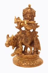 Purpledip Lord Krishna Statue With Kamdhenu Cow: Brass Idol Playing Flute for Home Temple Mandir (10914)