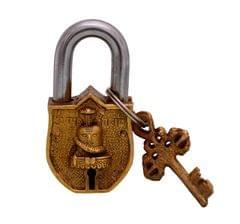Handmade Brass Antique Padlock Lock: Mahadev Shivling (10766)