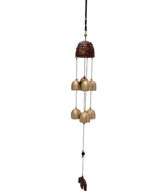 Purpledip Wind Chime With Hanging Elephants (10772)