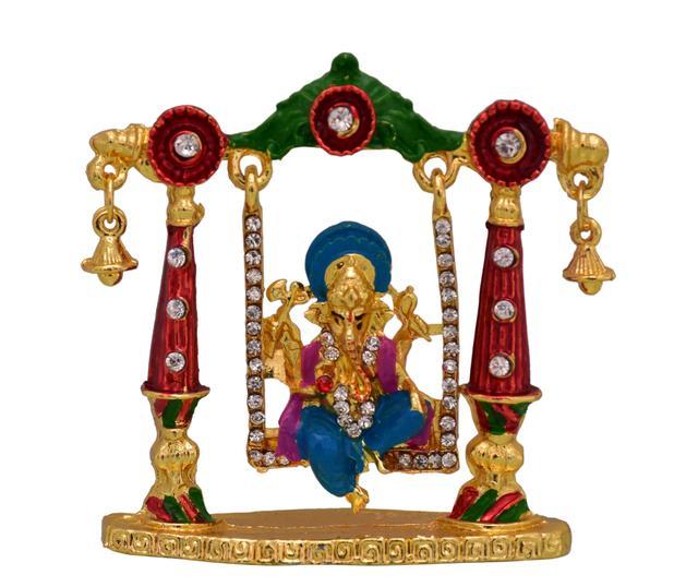 Purpledip Ganesha (Ganapathi Or Vinayaka) In Swing Statue (10777)