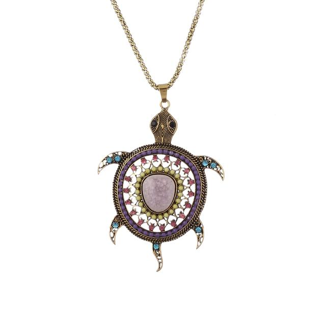 Purpledip Necklace With Long Chain And Colorfully Embellished Funky Metal Tortoise Pendant (30103)