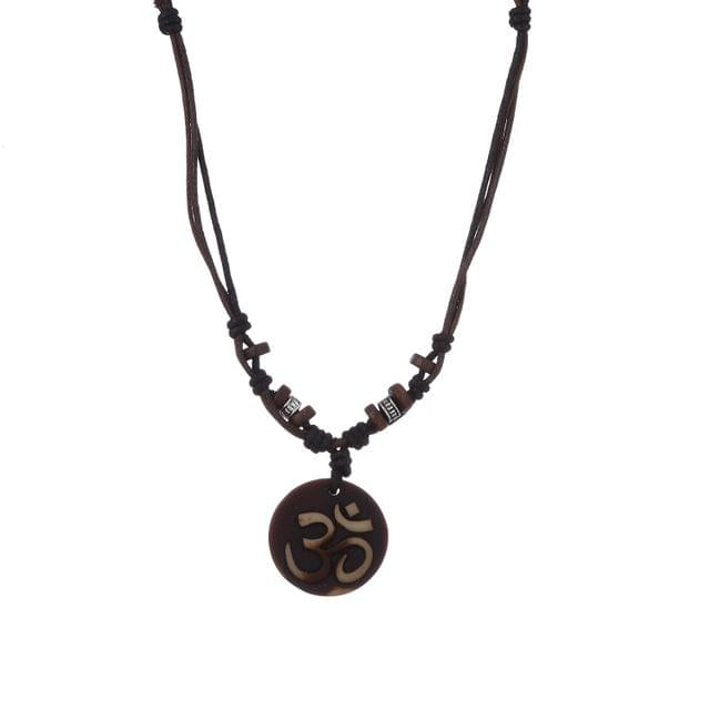 "Purpledip Necklace Chain ""Om"": Unique Pendant With Adjustable Cotton Cord 