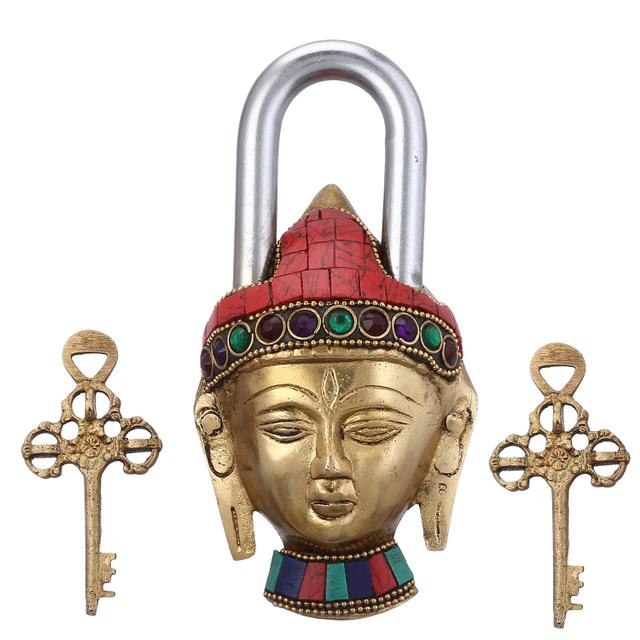Purpledip Brass Padlock: Lord Buddha Lock With Gemstones; Unique Gift For Security And D�cor (10946)
