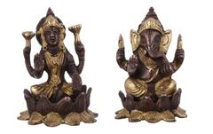 Purpledip Lakshmi Ganesha On Lotus Flower: Brass Statue Set In Unique Copper-Gold Finish; Rare Collection Idols For Home Temple (10947)