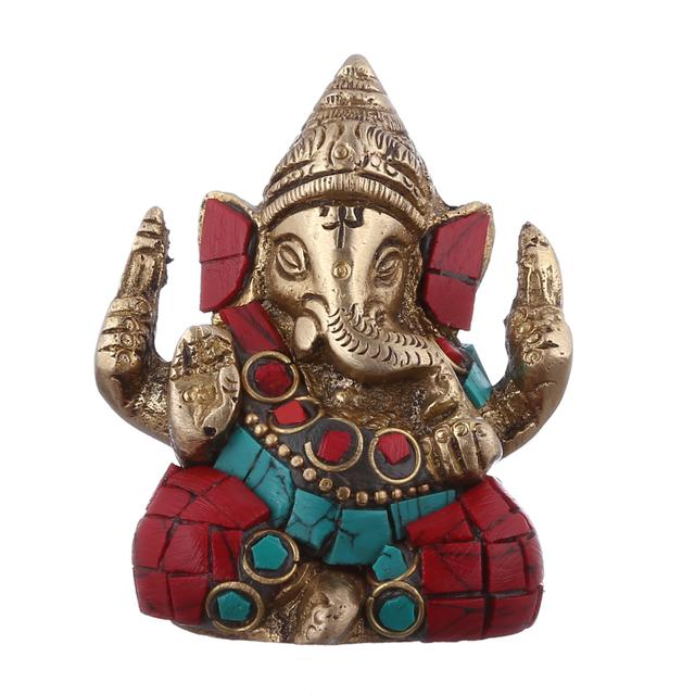 Purpledip Hindu Religious God Small Statue of Lord Ganesha (Ganapathi or Vinayaka) in Solid Brass Metal with Turquoise Gem-stone Work for Table Top, Home Temple or Office/Shop Puja (10954)