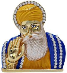 Purpledip Guru Nanak Dev Small Metal Statue: Sikh Religious Idol  For Home Temple, Car Dashboard, Office Table Or Shop Counter (10960)