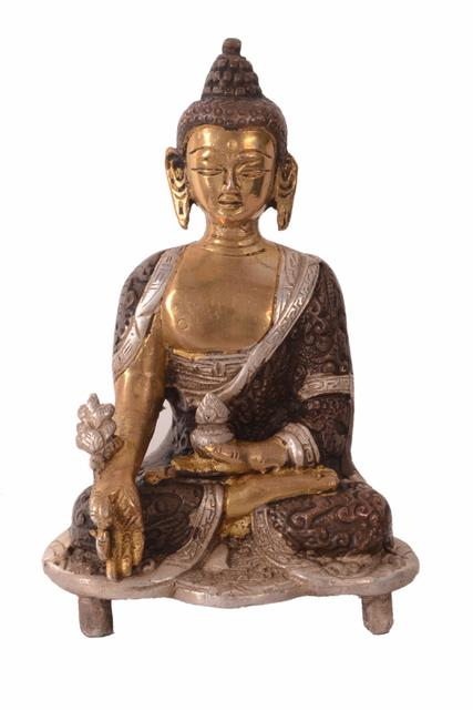 Purpledip Brass Idol Lord Buddha In Unique Copper Silver Finish: Collectible Statue For Temple, Decor Or Gifting (10963)