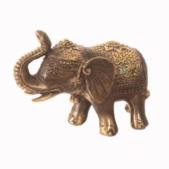 Purpledip Brass Elephant Statue Showpiece In Antique Finish And Gold Adornments: Feng Shui Good Luck Symbol (10964)
