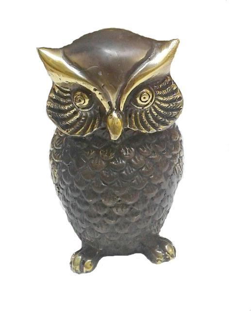 Purpledip Owl Statue Sculpted In Brass With Unique Copper Gold Finish: Use As Good Luck Symbol Or Feng Shui Positive Energy Or Paper-Weight Decor Showpiece (10967)