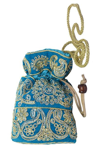 Purpledip Silk Potli Satchel Purse Drawstring Clutch Bag For Women; Turquoise (10972)