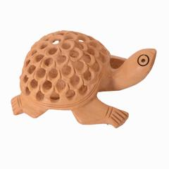 Purpledip Wooden Tortoise/Turtle With Jaali Carving Work; Miniature Idol Gift Vaastu Feng Shui Good Luck Charm (10980)