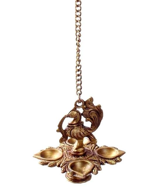 Purpledip Brass Peacock Hanging Diya Deepak Oil Lamp In Copper Finish: For Home Temple, Door, Hallway, Porch Or Balcony; Unique D�cor Gift (10982)