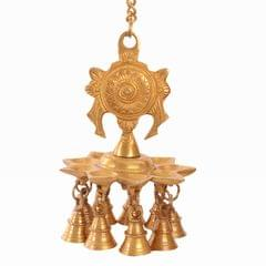 Purpledip Brass Hanging Diya Deepak Oil Lamp With Bells: For Home Temple, Door, Hallway, Porch Or Balcony; Unique Decor Gift (10983)