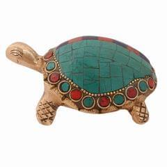 Purpledip Brass Tortoise/Turtle Idol With Gemstones And Magic Numbers Lo Shu Square Nine Halls Diagram; Feng Shui Vaastu Good Luck Charm Gift (10985)