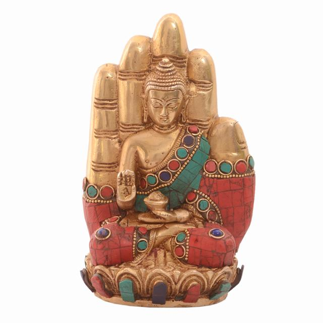 Purpledip Rare Collection Lord Buddha Statue In Solid Brass Metal With Turquoise Gem-stone Work: Decor Gift For Home Temple, Office Table (10986)
