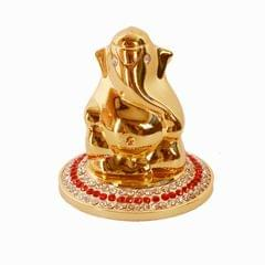 Purpledip Lord Ganapati (Hindu Religious God) Idol for Table Top, Home Temple, Car Dashboard Statue (10987)
