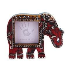 Purpledip Artistic Photoframe Wooden Elephant Shaped for 4x4 inch photo size Unique Indian souvenir (10988)