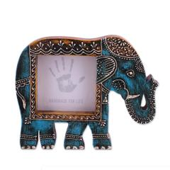 Purpledip Artistic Photoframe Wooden Elephant Shaped for 4x4 inch photo size Unique Indian souvenir (10989)