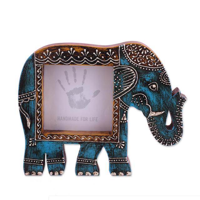 Purpledip Artistic Photoframe Wooden Elephant Shaped for 4x4 inch photo size Unique Indian souvenir (10989)