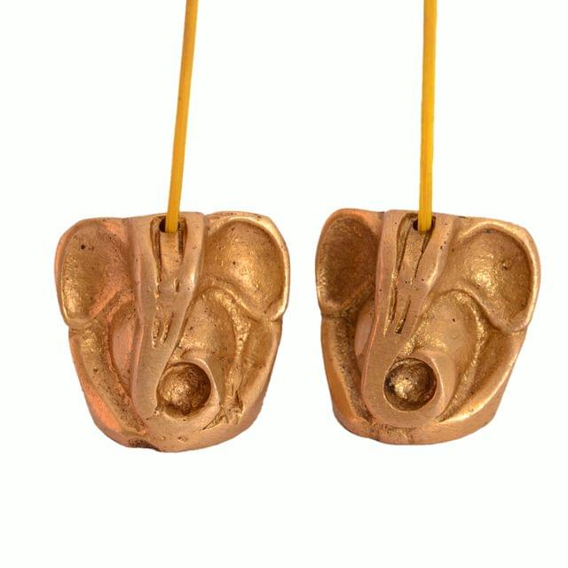 Purpledip Incense Stick Holder Or Agarbatti Stand: Sculpted in Brass & Shaped like Ganapati, Ganesha, Vinayak Set of 2 (10991)