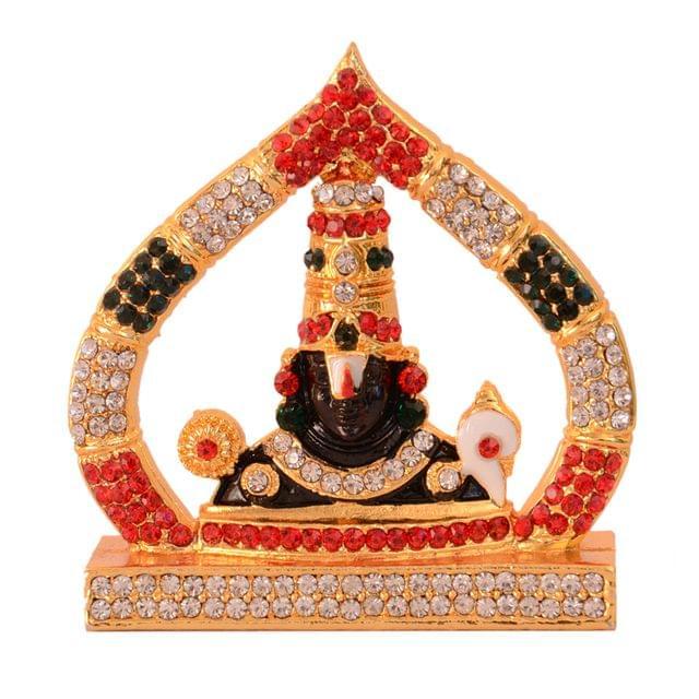Purpledip Hindu Religious God Tirupati Balaji Miniature Statue Idol For Car Dashboard, Shop Counter/Shelf, Or Office Table (10993)
