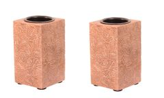 Purpledip Wooden T Light Candle Holders with Brass Sheet Cover (Set of 2) Copper , Indian souvenir, gift (10998)