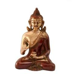 Purpledip Brass Idol Lord Buddha In Unique Maroon Finish: Collectible Statue For Temple, Decor Or Gifting (10999)