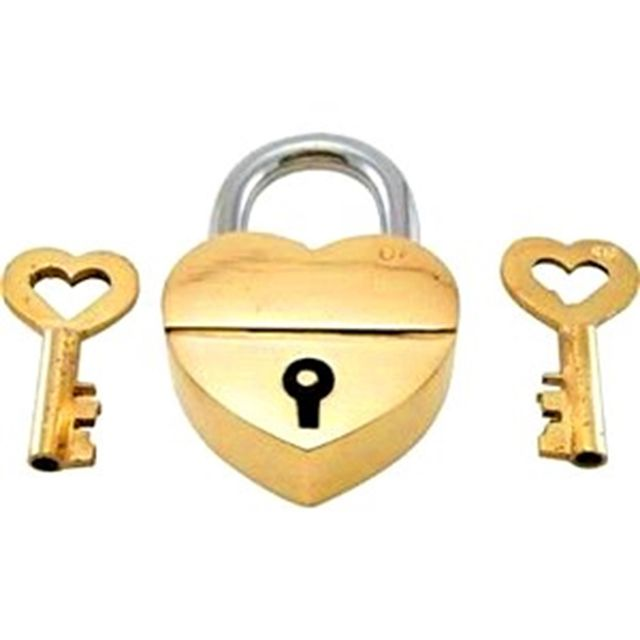 Purpledip Brass Small Padlock: Glowing Heart (11003)