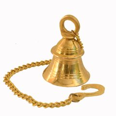 Purpledip Small Hanging Bell: Solid Brass Bell With Deep Sound (11005)