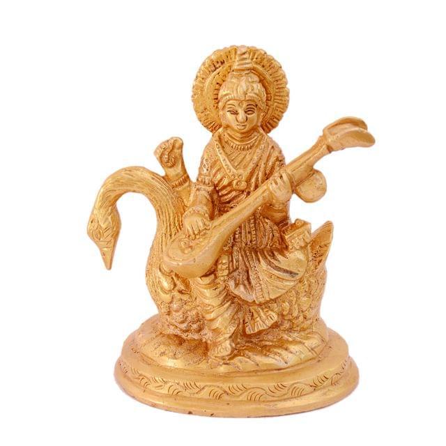 Purpledip Brass Statue Saraswati (Saraswathi): Hindu Goddess Of Knowledge, Music & Art; Decor Gift (11006)