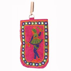 Purpledip Designer Mobile Phone Pouch Cover With Purse Pocket & Sari Hook For Women: Rich Embroidery in Traditional Indian Style (11013)
