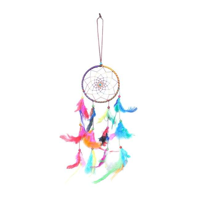 Purpledip Dream Catcher Rainbow Colors - Handmade Wall Hanging For Garden, Car, Outdoor, Bedroom, Meditation Room, Yoga Temple (11014)