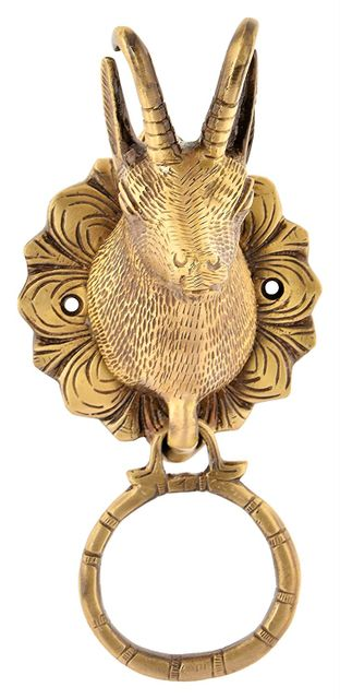 Purpledip Brass Metal Door Knocker: Antique Design Deer Head Gate Handle (11016)