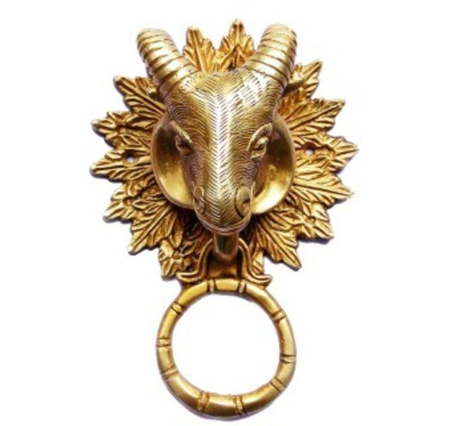 Purpledip Brass Metal Door Knocker: Antique Design Ram Head Gate Handle (11017)