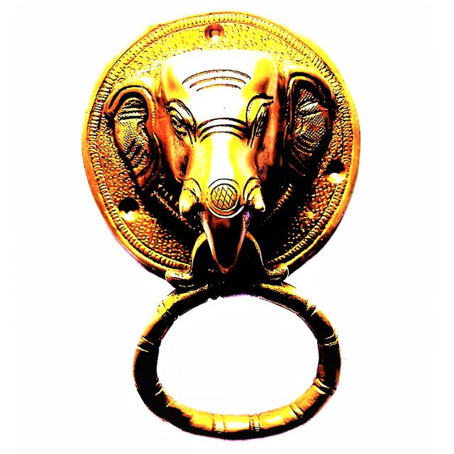 Purpledip Brass Metal Door Knocker: Antique Design Elephant Head Gate Handle (11019)