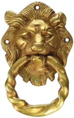 Purpledip Brass Metal Door Knocker: Antique Design Royal Lion Handle (11020)